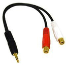 (Price for 12 pcs)CablesToBuy&#8482 7 inch (20 cm) Choseal Q-377 3.5mm Stereo Male To 2 RCA Female Gold Plated Y-Cable (Black), AV Cable