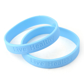 "GOGO ""Live Healthy"" Debossed Silicone Wristbands - Blue"
