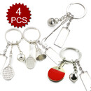 Aspire Metal Keychain, Sport Ball and Racket Key Ring, 4 pcs/ Set