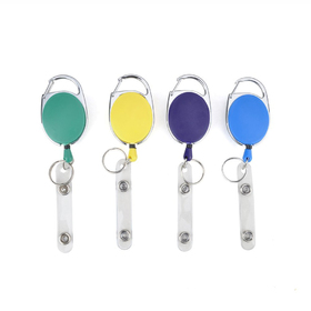 Officeship Carabiner ID Name Badge Holder Reel, Opaque Color, with Badge Clip and Key Ring, 100 PCS Packed