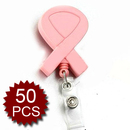 Officeship Breast Cancer Awareness Name Badge Reel Pink, 50PCS/PACKED