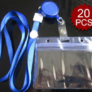 Officeship Clear Horizontal Orientation Badge Holder Combo Card Reel And Lanyard, 20PCS / PACKED
