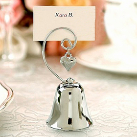 Idoo Charming Chrome Bell Place Card, Photo Holder with Dangling Heart Charm, Price/Dozen