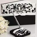 Idoo Elegant Flocking Black & White Guest Book with Pen