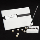 Idoo Black & White Bow Guest Book with Pen