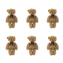 GOGO 3 Inch Stuffed Plush Teddy Bear, Coffee, Pack Of 6, Valentine's Gift Idea
