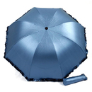 TOPTIE Folding Anti-UV Sun Parasol, Arched Umbrella With Ruffle Trim