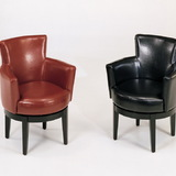 Armen Living 247 Black Leather Swivel Club Chair, Price/Each