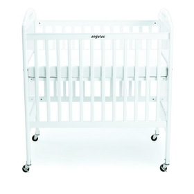 Angeles AEL7015 White Clear View Panel Adjustable Fixed Side Crib