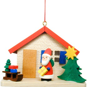 ULBR Ornament, Santa By House Each (Item number: 10-0850), UPC: 821692018810