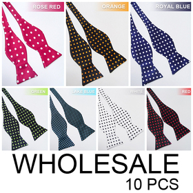 Wholesale Lot 10 Pcs Men & Boys Polka Dot Self-Tie Bow Tie (Lots of Colors)