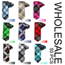 Wholesale Lot 50 Pcs Unisex Polyester Plaid Skinny 2 Inch Necktie