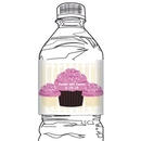 Chocolate CupcakeWater Bottle Label, Lime Green