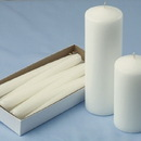 Shrink Wrapped Taper Candles, Ivory
