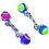Ethical Dog Spot Rainbow Twister 2-Ball Dumbell - Blue/Green - 12 Inch