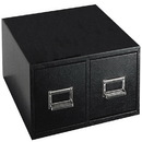 BUDDY PRODUCTS 1646-4 Double Drawer Card File, (4 x 6), Black