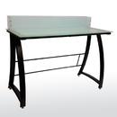 BUDDY PRODUCTS 6424-4 Workstation with Frosted Glass Top, Black