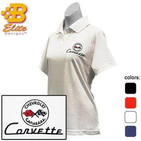 Belite Designs C1 Corvette Embroidered Ladies Performance Polo Shirt Classic Red - Small - BDC1EPL111