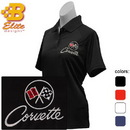 Belite Designs Belite Designs C2 Corvette Embroidered Ladies Performance Polo Shirt Black- XX Large -BDC2EPL112
