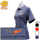 Belite Designs C6 Corvette Embroidered Ladies Performance Polo Shirt Black- Small -BDC6EPL106