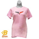 Belite Designs Belite Designs C6 Corvette Ladies Ringspun Cotton Tee Pink- Large -BDC6STL181