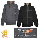 Belite Designs Belite Designs C6 Corvette Emblem Full Zip Heavyweight Hooded Sweatshirt Black- XX Large -MNK00004