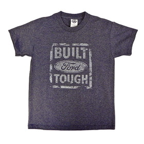 Belite Designs Built Ford Tough Distressed Look Youth Tee DENIM HEATHER- MEDIUM (10-12) -