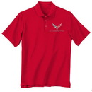 Belite Designs Corvette C-7 Men's Red Performance Polo -S -