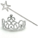 70021 Princess Tiara & Wand Set - Size: One Size - Color: Rainbow - Size: One Size - Color: Silver