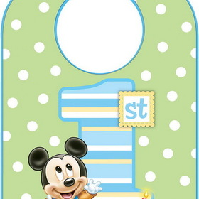 1FVR2484 Mickey's 1st Birthday Bib