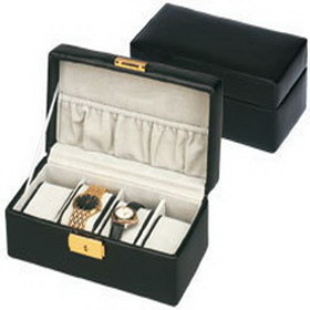 Budd Leather 540092-1 4 Watch Box Black