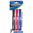 Bazic Products 1247-144 Asst. Color Chisel Tip Desk Style Permanent Markers (3/Pack)