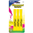 Bazic Products 2320-144 Yellow Desk Style Fluorescent Highlighters (3/Pack)