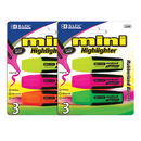 Bazic Products 2328-24 Mini Fluorescent Highlighters With Cushion Grip (3/Pack)
