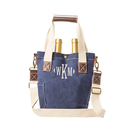Cathy's Concepts 2549N Personalized Navy Waxed Canvas Wine Tote