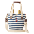 Cathy's Concepts ACH-2549-ST Striped Canvas Anchor Wine Tote