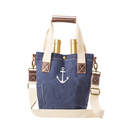 Cathy's Concepts ACH-2549N-ST Navy Waxed Canvas Anchor Wine Tote