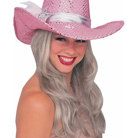 RUBIES COSTUME 49177R Pink Sequin Cowgirl Hat Adult