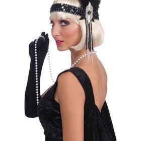 FORUM NOVELTIES 68341F Black and Silver Deluxe Flapper Headband