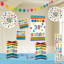 Rainbow Happy Birthday Add-Any-Age Room Decoration Kit