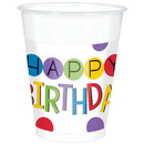 Rainbow Happy Birthday Plastic Cups (25 Count)