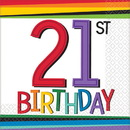 Rainbow 21st Birthday Beverage Napkins (16 Count)