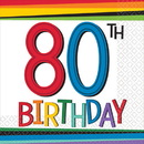 Rainbow 80th Birthday Beverage Napkins (16 Count)