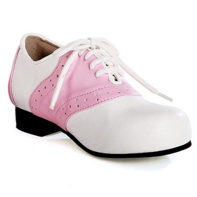 E105-SADDLE-6 Women's Pink and White Saddle Shoe