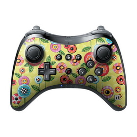 DecalGirl Nintendo Wii U Pro Controller Skin - Button Flowers