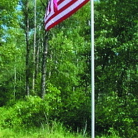 Dock Edge Fly - Right Flag Pole (12', Alum, Ground Mt. c/w USA Flag)