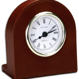 DACASSO Mocha Leather Clock with Gold Insert