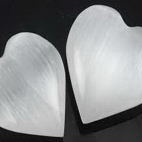 AzureGreen Small White Selenite Heart