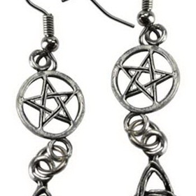 AzureGreen Triquetra Pentagram earrings