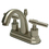 "Kingston Brass KS8618ML Two Handle 4"" Centerset Lavatory Faucet with Brass Pop-up, Satin Nickel"